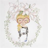 Картина на холсте «Девочка в цветах» 30x30 см