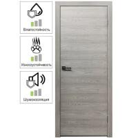 Дверь межкомнатная глухая с замком в комплекте 60х200 см, ламинация, цвет ясень серый