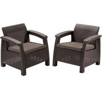 Набор садовой мебели Keter Corfu Duo Set полиротанг коричневый: 2 кресла