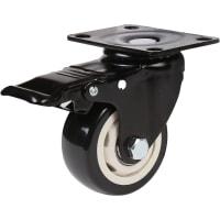 Колесо усиленное поворотное, с тормозом LHDPB75BL 75 мм, до 70 кг, цвет черный/бежевый