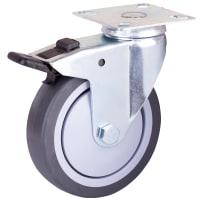 Колесо поворотное, с тормозом, площадка 100 мм, до 70 кг, цвет серый