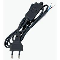 Шнур с выключателем 2 м, 220 В, цвет черный