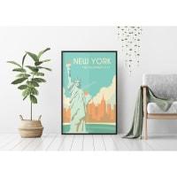 Постер в раме ПростоПостер Статуя Свободы 156113998595, 50х70 см