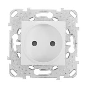 Розетка Schneider Electric Unica без заземления, со шторками, цвет белый