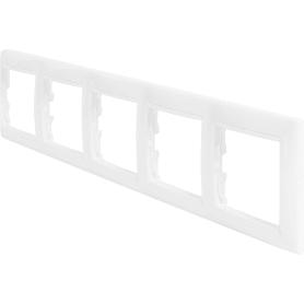 Рамка для розеток и выключателей Legrand Valena 5 постов, цвет белый