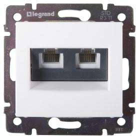 Телефонная розетка двойная встраиваемая Legrand Valena RJ11, цвет белый