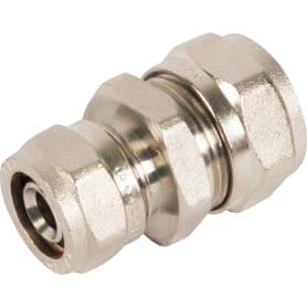 Соединитель обжимной Valtec, 20-16 мм, никелированная латунь