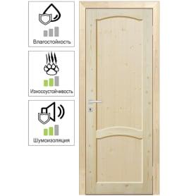 Дверь межкомнатная глухая 60x200 см, массив хвои, цвет натуральный