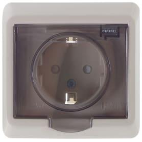Розетка встраиваемая влагозащищённая Schneider Electric Этюд с заземлением, со шторками, IР44, цвет кремовый