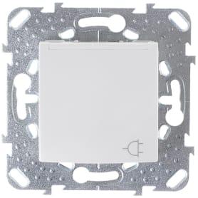 Розетка встраиваемая Schneider Electric Unica с заземлением, с крышкой и шторками, цвет белый