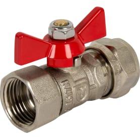 """Кран шаровый Valtec, для металлопластиковой трубы под обжим, ø16х1/2"""" внутренняя резьба, никелированная латунь VT.342.N.1604"""
