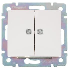 Выключатель Legrand Valena, 2 клавиши, с подсветкой, цвет белый