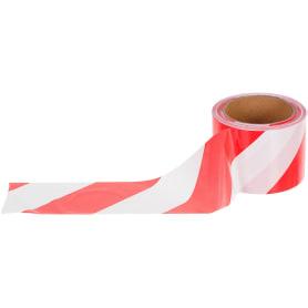 Лента оградительная 100 м цвет красно-белый