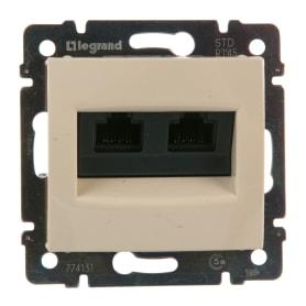Розетка компьютерная двойная встраиваемая Legrand Valena RJ45, UTP cat 5, цвет бежевый