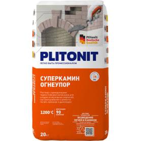 Раствор для кладки огнеупорных кирпичей Плитонит СуперКамин ОгнеУпор 20 кг