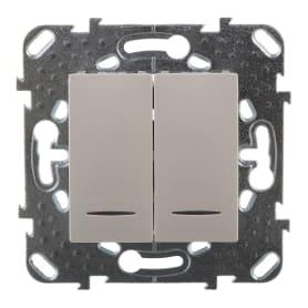 Выключатель Schneider Electric Unica, 2 клавиши, с подсветкой, цвет белый