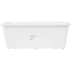 Ящик балконный 40х17х15 см, 7л, пластик, Белый, Серый / Серебристый