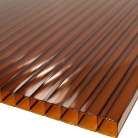 Поликарбонат сотовый 6 мм 2.1х3 м цвет терракотовый