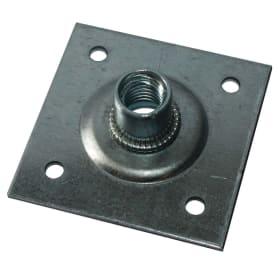Пластина опорная с гайкой М12 60х60х2 мм, сталь