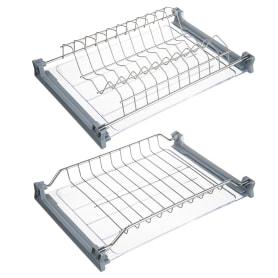 Сушилка для посуды с двумя поддонами для верхнего шкафа, 400 мм, нержавеющая сталь цвет хром
