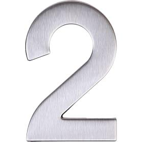 Цифра «2» самоклеящаяся 95х62 мм нержавеющая сталь цвет серебро