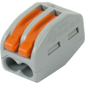 Клемма Wago 2 разъема под провода 12.4х14.5х20.5 мм, полиамид, 5 шт.