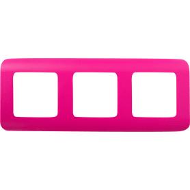 Рамка для розеток и выключателей Lexman Cosy 3 поста, цвет фуксия