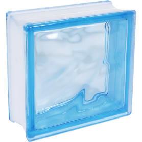 Стеклоблок Богема Волна окрашенный в массе цвет голубой