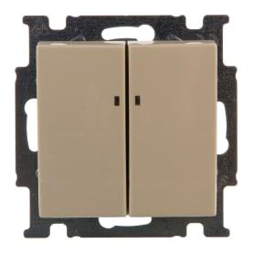 Выключатель ABB Basic55 2 клавиши с подсветкой цвет бежевый