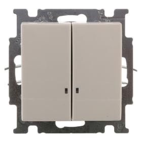 Выключатель ABB Basic55 2 клавиши с подсветкой цвет белый