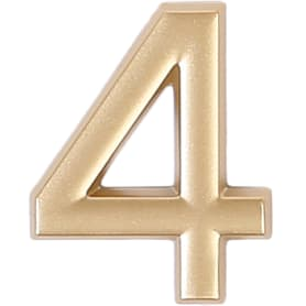 Цифра «4» самоклеящаяся 40х32 мм пластик цвет матовое золото