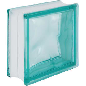 Стеклоблок Волна окрашенный в массе цвет бирюзовый
