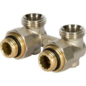 """Клапан для радиатора запорный угловой Н-образный РОСТерм для двухтрубной системы отопления, 1/2"""""""