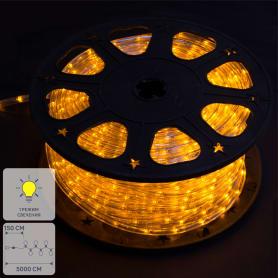 Электрогирлянда для улицы дюралайт жёлтый 50 м, 24 лампы
