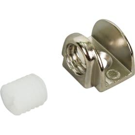 Стеклодержатель мебельный П-образный на шурупе, металл, цвет хром, 2 шт.