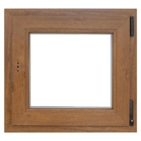 Окно ПВХ одностворчатое 60х60 см поворотно-откидное правое, цвет золотой дуб
