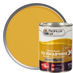 Эмаль-грунт по ржавчине 3в1 цвет жёлтый 0.9 кг