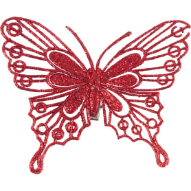 Набор ёлочных украшений «Бабочки» 10 см, цвет красный, 4 шт.
