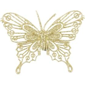 Набор ёлочных украшений «Бабочки» 10 см, цвет золотой, 4 шт.