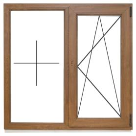 Окно ПВХ двустворчатое 120х120 см глухое/поворотно-откидное правое, цвет золотой дуб