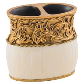 Стакан для зубных щёток настольный «Флоренция» полирезина цвет кремовый