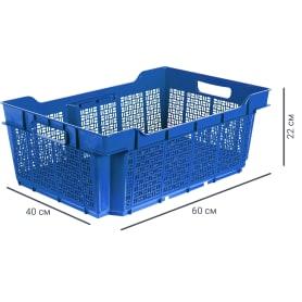 Ящик полимерный многооборотный 60х40х22 см, пластик цвет синий