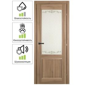 Дверь межкомнатная Катрин остеклённая CPL цвет акация  90х200 см (с замком)