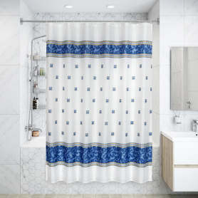 Штора для ванной комнаты «Zumrut» 180х200 см цвет голубой