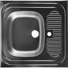Мойка накладная Eurodomo 60x60 см цвет матовый хром, нержавеющая сталь