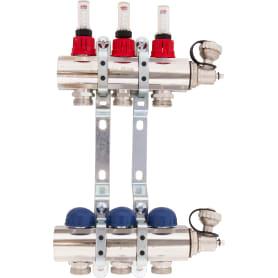 """Коллекторная группа Uni-Fitt со встроенными расходомерами, 1""""х3/4"""", 3 выхода"""