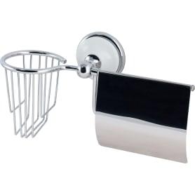Держатель для туалетной бумаги и освежителя воздуха «Aster» с крышкой цвет хром