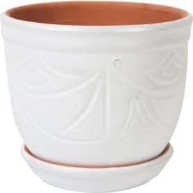 Горшок цветочный «Узоры» белый 2.4 л 155 мм, керамика, с поддоном