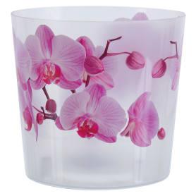 Кашпо цветочное «Деко», D16, 2, 4л. пластик, Белый, Розовый