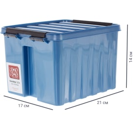 Контейнер Rox Box с крышкой 17x14x21 см, 3.5 л, пластик цвет синий